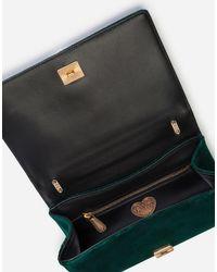 Dolce & Gabbana Green Medium Devotion Crossbody Bag In Quilted Velvet
