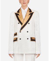 Dolce & Gabbana Multicolor Zweireihige Jacke Mit Revers In Kontrastfarbe