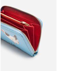 Cartera Con Cremallera De Piel De Becerro Dauphine Estampada Dolce & Gabbana de color Blue