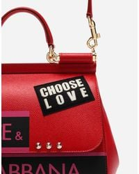 Dolce & Gabbana Red Medium Sicily Bag In Dauphine Calfskin With Appliqués