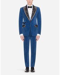 Dolce & Gabbana Kleid Casinò Aus Samt Mit Pailletten in Blue für Herren