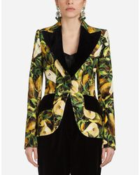Dolce & Gabbana Yellow Blazer Aus Bedrucktem Samt