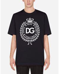 T-Shirt In Cotone Con Stampa di Dolce & Gabbana in Blue da Uomo