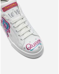 Dolce & Gabbana White Sneaker Aus Kalbsleder Mit Stickerei-Patch