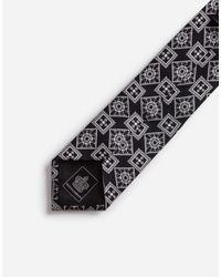 Cravatta Pala 6 Cm In Seta Stampa Rombi di Dolce & Gabbana in Black da Uomo