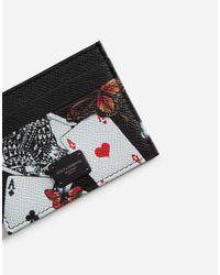 Dolce & Gabbana Black Credit Card Holder In Printed Dauphine Calfskin