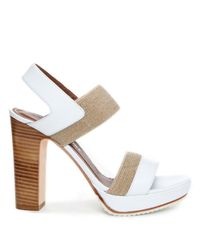 Donald J Pliner | White Calf Leather Platform Sandal | Lyst