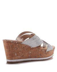Donald J Pliner - Textured Metallic Wedge Sandal - Lyst