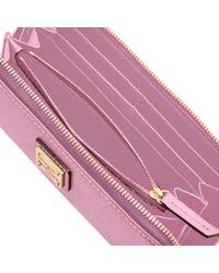 Dooney & Bourke Purple Saffiano Large Zip Around Wallet