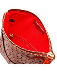 Dooney & Bourke Red Ostrich Foldover Zip Crossbody