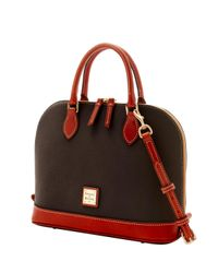 Dooney & Bourke Brown Pebble Grain Zip Zip Satchel