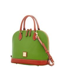 Dooney & Bourke Green Pebble Grain Zip Zip Satchel