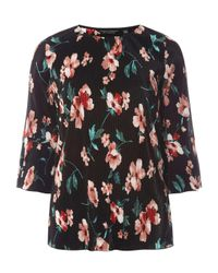 Dorothy Perkins Black Tall Multi Coloured Floral Print Plisse Top