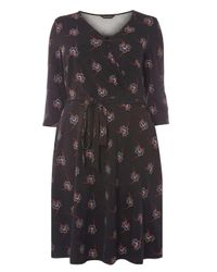 Dorothy Perkins   Dp Curve Black Oriental Floral Wrap Dress   Lyst