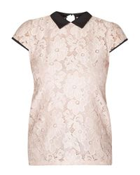 Dorothy Perkins - Pink Blush Daisy Lace Collar Top - Lyst