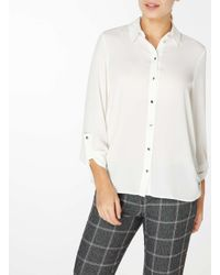Dorothy Perkins - White Ivory Roll Sleeve Shirt - Lyst