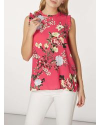 Dorothy Perkins - Pink Floral Sleeveless Top - Lyst