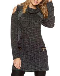 Dorothy Perkins - Gray Quiz Grey Cold Shoulder Shift Dress - Lyst