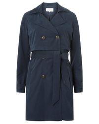 Dorothy Perkins Blue Vila Navy Tie Waist Trench Coat