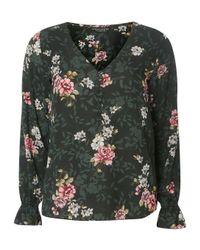 Dorothy Perkins Green Floral Print V-neck Blouse