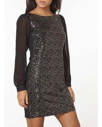 Dorothy Perkins Black Billie & Blossom Gold Sequin Shift Dress