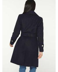 Dorothy Perkins Blue Petite Navy Wrap Belted Coat