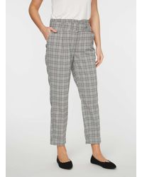 Dorothy Perkins Gray Check Belted Tapered Trousers