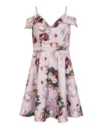Dorothy Perkins Chi Chi London Pink Cold Shoulder Midi Dress