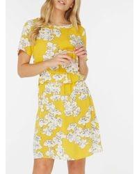 Dorothy Perkins Vila Yellow Floral Print Ruffle Skater Dress