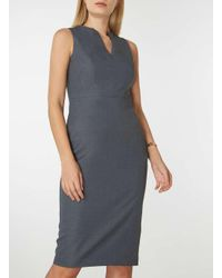 Dorothy Perkins - Gray Grey Notch Neck Pencil Dress - Lyst
