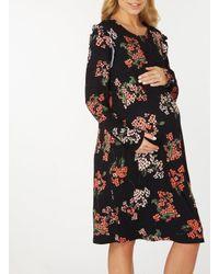 Dorothy Perkins Maternity Black Blossom Print Ruffle Sleeve Skater Dress