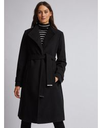 Dorothy Perkins Black Button Detail Wrap Coat