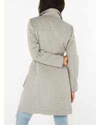 Dorothy Perkins Gray Vero Moda Grey Wool 3/4 Length Belted Coat
