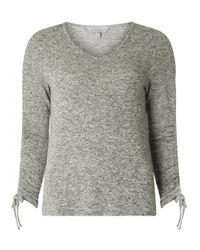 Dorothy Perkins Gray Petite Grey Ruched Sleeve Top