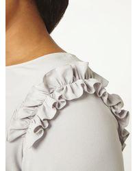 Dorothy Perkins Gray Dp Curve Grey Ruffle Shoulder Top
