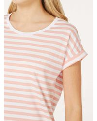 Dorothy Perkins Vila Pink And White Striped T-shirt