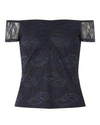 Dorothy Perkins Blue Petite Navy Jersey Lace Bardot Top
