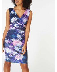 Dorothy Perkins Blue Scarlet B Katie Navy Floral Print Bodycon Dress