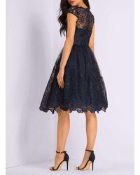 Dorothy Perkins Blue Chi Chi London Navy Cap Sleeve Tea Dress