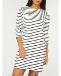 Dorothy Perkins Vila Navy And White 3/4 Sleeve Zip Shift Dress