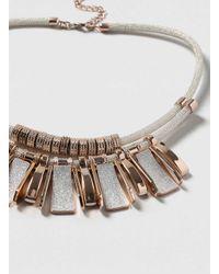 Dorothy Perkins - Metallic Rose Gold Glitter Bar Necklace - Lyst