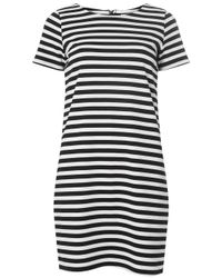 Dorothy Perkins Blue White And Navy Striped Zip Shift Dress