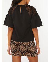 Dorothy Perkins Vero Moda Black Lace Shoulder Blouse