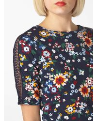 Dorothy Perkins | Multicolor Black Floral Laced Sleeve Tee | Lyst