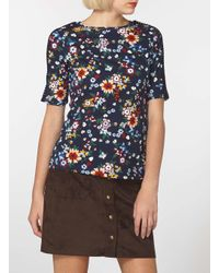 Dorothy Perkins - Multicolor Black Floral Laced Sleeve Tee - Lyst