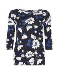 Dorothy Perkins Blue Navy Floral Print T-shirt