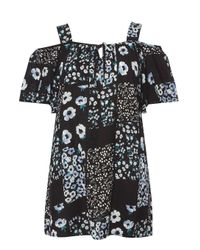 Dorothy Perkins Black Floral Patchwork Tunic