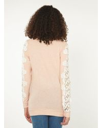 Dorothy Perkins - Pink Tall Blush Lace Sleeve Brushed Jumper - Lyst