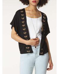 Dorothy Perkins Black Embellished Front Kimono