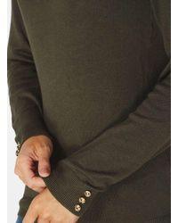 Dorothy Perkins Multicolor Khaki Button Cuff Jumper
